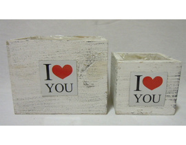 Caja madera i love you 16x16x13
